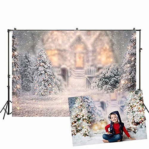 lovedomi 10x7ft Winter Tree Glitter Background Christmas White Snow Happy New Year Photo Background Photo Studio Props for Kids Family Party Birthday Background Baby Shower Decoration Vinyl Material
