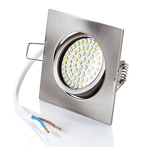 sweet-led Set 6 x flache Einbaustrahler LED dimmbar, 230V, 5W, Schwenkbar, Eckig, Chrom gebürstet, 450 lumen, Warmweiß