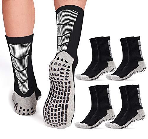 Non Slip Soccer Socks Mens | 4 Pairs | Non Skid Grip | Football Basketball Sport