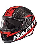 MT Casco Moto 2019 Rapide Pro Carbon Carbon-Rojo (L, Rojo)