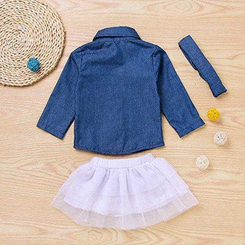 Hanone Completo Neonato per neonata Camicia di Jeans Morbida + Mini Filato a Rete + Copricapo Blu&Bianco 110