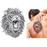 Fake Tattoo adhesivo León con plumas una vez Tattoo Negro hb496