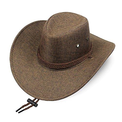 MMWYC Cappello Estivo da Sole Cappello da Donna Estivo da Spiaggia Cappello da Spiaggia Cappello da Cowboy Occidentale Cappello da Sole Traspirante con Fascia per Il Mento (Color : Coffee)