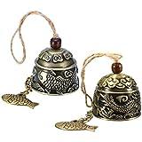 Guador Campana de Fengshui Vintage, 2 Piezas Campanas Feng Shui Chinas Clásicas Dragón Chino/Pescado Bell Bendición Buena Suerte Fortuna Colgando Timbre para Decoración de Hogar Jardín(Dos Estilos)