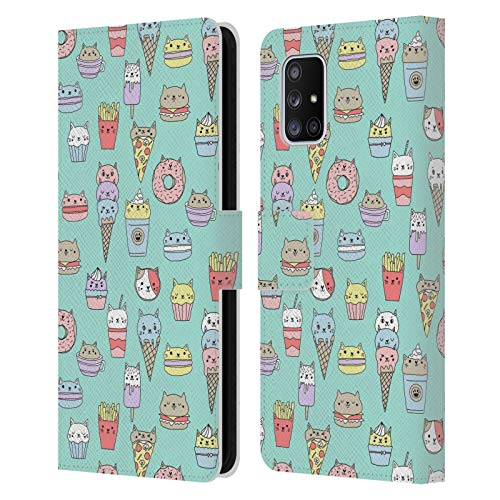 Head Case Designs Officially Licensed Andrea Lauren Design Catfood Food Pattern Leather Book Wallet Case Cover Compatible with Samsung Galaxy A71 5G (2020)