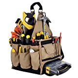 "Jackson Palmer Extra Large 11"" Tool Tote Carrier, 28 Pockets with Premium Parts Case (Electrical & Maintenance Tool Bag)"