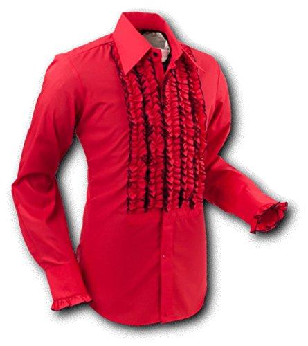 Chenaski 70er Jahre Hemd, Hemd Rüsche Red Size XL