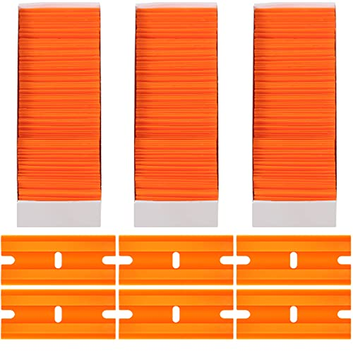 300 Pieces Plastic Razors Blades Plastic Blades Blade Double Edged Knife, Plastic Razor Blade Scraper with a Tip Slot Edge Blades for Removing Decals, Stickers, Clean Glass (Orange)