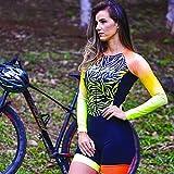 Triatlón de mujer traje-mujer ciclismo traje largo manga larga con gel Pad Triathlon Jersey Jumpsuit (Color : 5, Size : XX-SMALL)