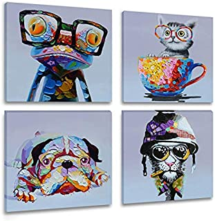 Inzlove Animals Canvas Wall Art Modern Cartoon Oil Painting Print Happy Dog Frog Pictures for Living Room Bedroom Home Decor