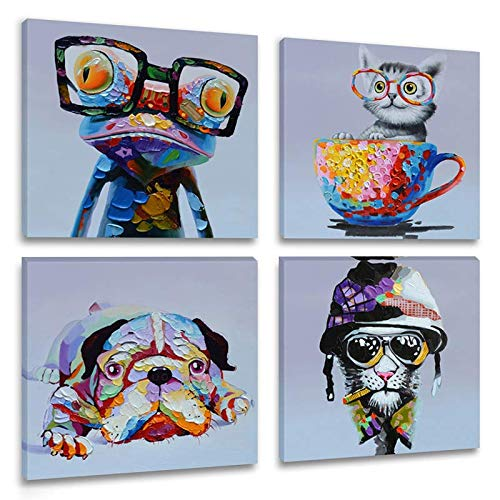 Inzlove Animal Oil Painting Print on Canvas Lazy Dog Art Cute Kitty Artwork Happy Frog with Glasses Pictures for Living Room Wall Decor