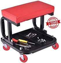 Omni Preminum Heavy Duty Mechanic Rolling Seat Stool Chair Repair Tools Tray Shop Auto Car Garage, w/ 225 lbs Capacity