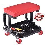Omni Preminum Heavy Duty Mechanic Rolling Seat Stool Chair Repair Tools Tray Shop Auto Car Garage, w/ 225 lbs Capacity