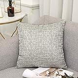 Vioaplem Kissenhüllen Stickerei Streifen Polyester Baumwolle Leinen Wurf Kissenbezug zum Couch Sofa Schlafzimmer Zuhause 40x40cm Grau