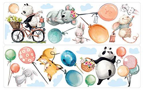 dekodino® Wandtattoo Kinderzimmer Aquarell Waldtiere mit Luftballons Set Deko