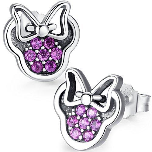 Twenty Plus® Pendientes de Mujer con Diseños Brillantes de Minnie Mouse Rosado del'Mundo...