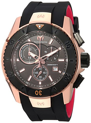 Technomarine Men's UF6 Gold Quartz Watch with Silicone Strap, Black, 26 (Model: TM-616005)