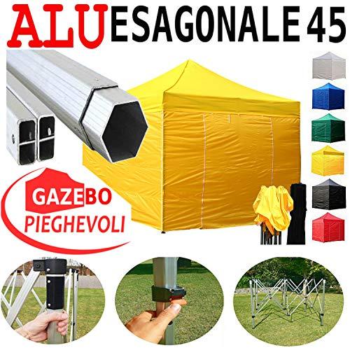Gazebo Giallo 3X3 Pieghevole Alluminio A Forbice Ombrello Professionale Con Piantone Esagonale Mercato Fiere Stand Coldiretti