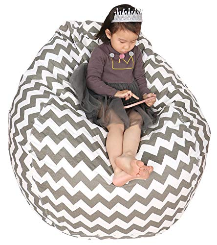 Great Eagle 52 x 48 Inches Extra Large 100% Cotton Canvas Kids Stuffed Animals Toys Storage Bean Bag Chair Cover Only for Kids, Toddlers,Teens and Adults(Chevron Grey)