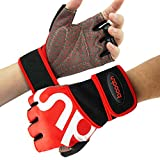 SYOSIN Fitness Handschuhe, Trainingshandschuhe mit Handgelenkstütze und Palm Schutz, rutschfest &...