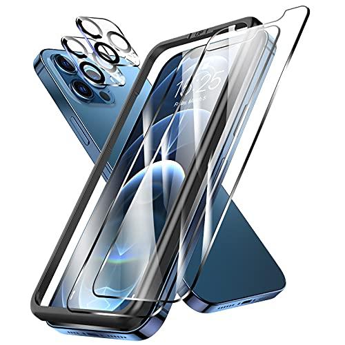 LK 4 Stücke Schutzfolie Kompatibel mit iPhone 12 Pro Max Panzerglas,6.7 Zoll 2 Schutzfolie und 2 Kamera Panzerglas, 9H Härte Panzerglasfolie, HD Klar Displayschutz, Kratzen Blasenfrei