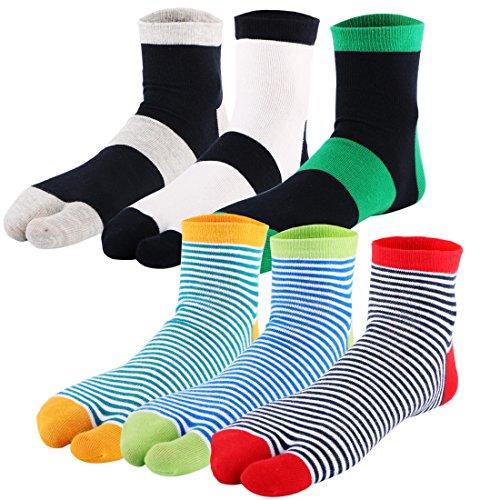 kilofly 6 pares de calcetines Tabi a rayas unisex con 2 dedos