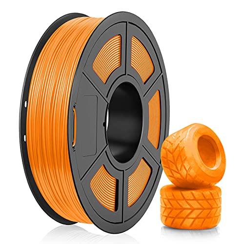 Filamento de TPU Para Impresora 3D 1,75, Filamento Flexible de TPU Negro SUNLU de 1,75 mm, Compatible con Impresora 3D FDM, Carrete de 0,5 kg, Precisión Dimensional +/- 0,02 mm (Naranja)