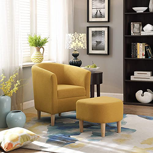 DAZONE Modern Accent Chair, Upholstered Arm Chair Linen Fabric Single Sofa Chair with Ottoman Foot Rest Mustard Yellow Comfy Armchair for Living Room Bedroom...