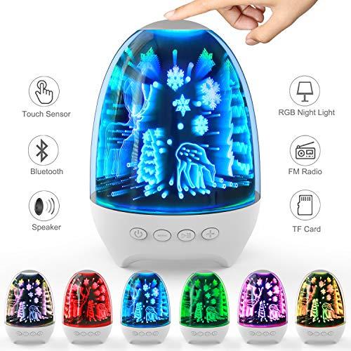 Aiscool Luz Noctura con Altavoz Bluetooth Lámpara de Mesita Multicolor LED Luces de Noche Tactil Recargable (Patrón de noche nevada)