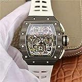 JFfactory Reloj mecánico de Marca, Reloj de Acero de Fibra de Carbono, producción Kv, Reloj de Pulsera automático Negro para Hombre, Blanco