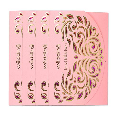 XLYAN Hochzeitseinladungen Durchbrochene Muster Hochzeit Einladungen Laserschneiden Verlobungskarte,Leeres Bedruckbares Papier,50 Sätze,Pink,Pink