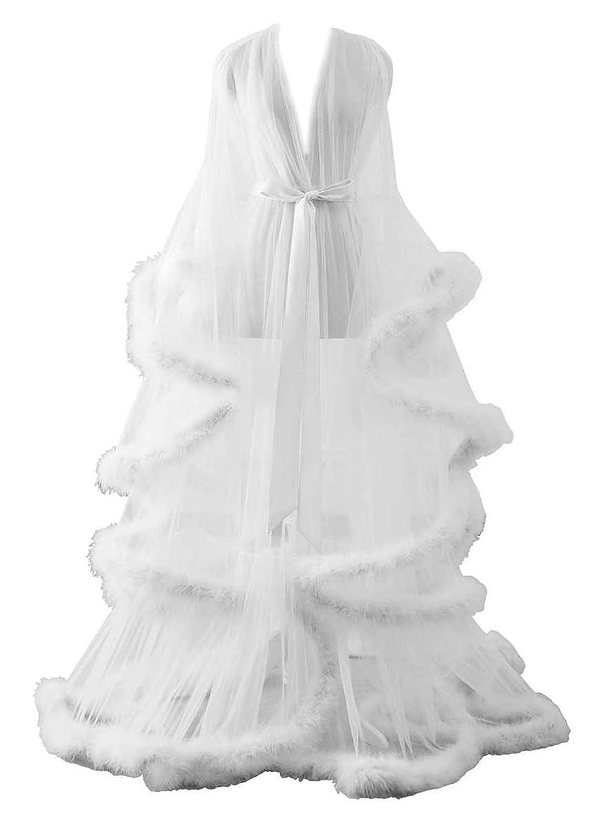 Changuan Sexy Illusion Long Lingerie Robe Nightgown Bathrobe Sleepwear Feather Bridal Robe Wedding Scarf