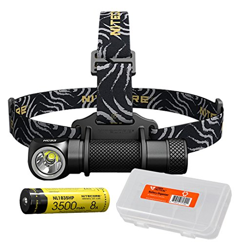 NITECORE HC33 1800 Lumen High Performance Versatile L-Shaped LED Headlamp includes 1x 3500mAh 8A Rechargeable Battery and Lumen Tactical Battery Organizer