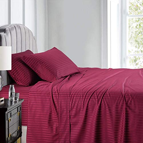Twin Size 4 Pieces Sheet Set - Hotel Luxury Bed Sheets - Extra Soft - 24' Inches Deep Pocket - 600 Thread Count - 100% Egyptian Cotton - Easy Fit - Breathable Cotton Sheets - Burgundy Stripe