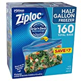 Ziploc Freezer Half gallon Freezer Grip N' Seal Technology Tabs 4 X 40 Bags Netcount 160 Bags, 160Count