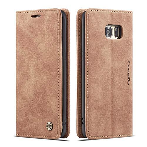 QLTYPRI Hülle für Samsung Galaxy S7 Edge, Vintage Dünne Handyhülle mit Kartenfach Geld Slot Ständer PU Ledertasche TPU Bumper Flip Schutzhülle Kompatibel mit Samsung Galaxy S7 Edge - Braun
