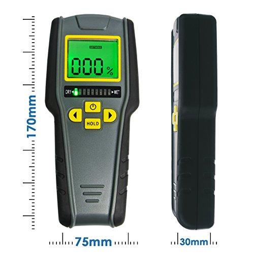 4-en-1 Pinless Humidimètre, LCD Numérique Avec Tricolor Bar Graph Pour Drywall, Maçonnerie, Softwood Et Hardwood Avec Auto Calibration & Alarm