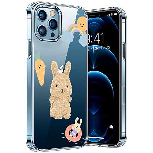 Transparent Hülle Kompatibel mit iPhone 12/12pro, Vergilbungsfrei Stoßfest Anti-Scratch TPU Handyhülle, Cover Bunte-Cartoons-Tiere-Muster-Design-Hülle-Hase