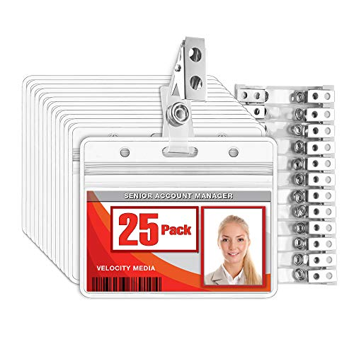 MIFFLIN Horizontal Plastic Card Holder with Metal Clip and Vinyl Straps (Clear, 3.5x2.25 Inch, 25 Pack), Waterproof PVC ID Name Badge Holder with Clip
