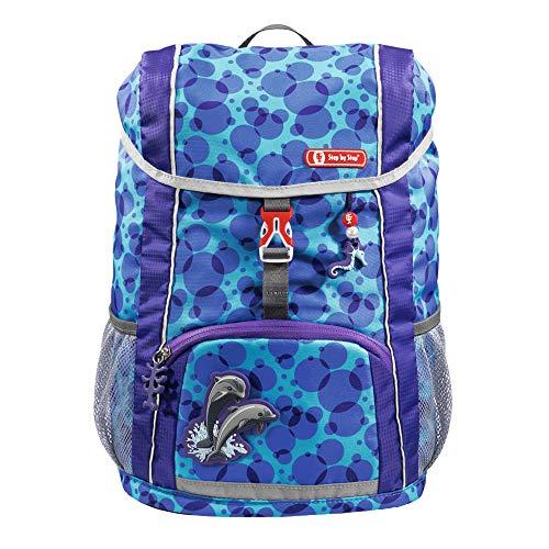 """Step by Step Rucksack-Set Kid """"Happy Dolphins"""", blau, mit Sitzkissen, ergonomischer Mini-Ranzen mit abnehmbarem Brustgurt, für Kindergarten, Vorschule und Freizeit, 13 l"""
