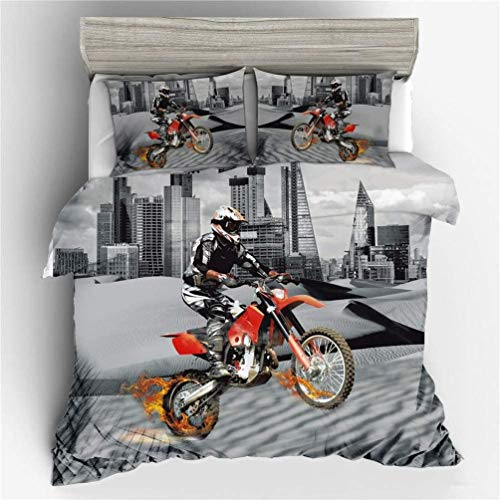 Amcyt Men's Teen Creative Red Sport Motorcycle 3D Premium Microfibre Duvet Cover and Pillow Cases Anti Mite, Smooth and Comfortable, 135*200