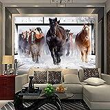 Papel tapiz mural grande no tejido 3D personalizado sala de estar dormitorio TV sofá Fondo papel tapiz de paja revestimiento de paredes caballo al galope