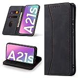 Leaisan Handyhülle für Samsung Galaxy A21S Hülle Premium Leder Flip Klappbare Stoßfeste Magnetische [Standfunktion] [Kartenfächern] Schutzhülle für Samsung Galaxy A21S Tasche - Schwarz