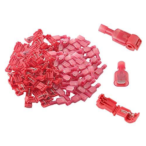 Aiqeer 100 Stück (50 Paare) Rot T-Tap Elektrische Steckverbinder Set, T-Tap Drahtverbinder, T-Abzweigverbinder Schnellverbinder und Vollisolierter Flachstecker Kit