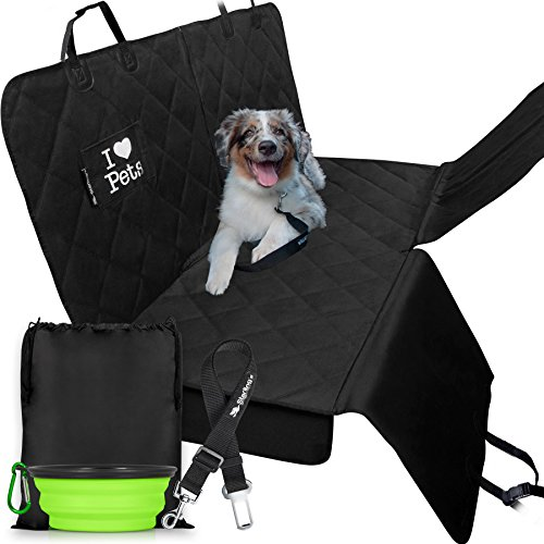 Starling's Dog Car Seat Covers for Backseat Hammock Style|Latest Model, Heavy Duty, Waterproof, Non-Slip & Vents for All 3 Seat Belts|Fits All Vehicles, SUV! W/Dog Bowl & Pet Seat-Belt
