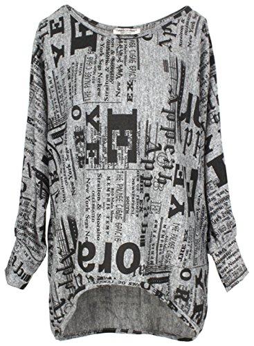Emma & Giovanni - Oversize Langarmshirt/Pullover- Damen (XXL, Grau)