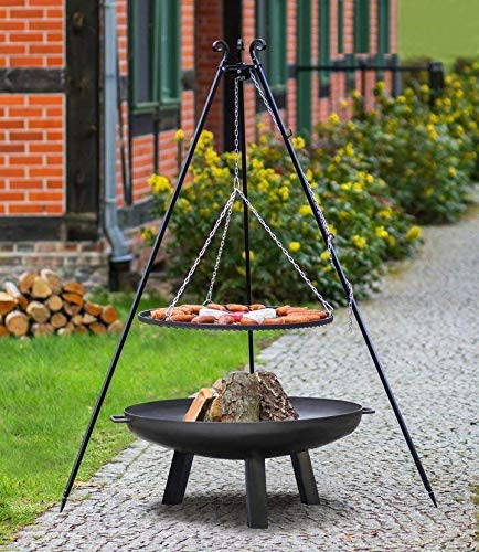 BlackOrange XXL Classic Fire Bowl Set with XXL Fire Pit 100 cm, XL Grill Grate 80 cm, Tripod 180 cm and Matching Chain with 4 Carabiners