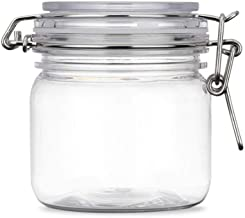 plastic jar with hinged lid