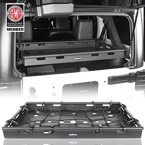 Hooke Road Jeep JK Interior Rear Cargo Basket Shelf Solid Steel Luggage Storage Carrier Compatible...