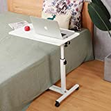 Rolling Laptop Table Rolling Laptop Desk with Wheels Rolling Laptop Stand Adjustable Overbed Bedside Table Overbed Desk(White)